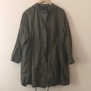 MASSIMO DUTTI Green Long Utility Jacket w/ Hood M